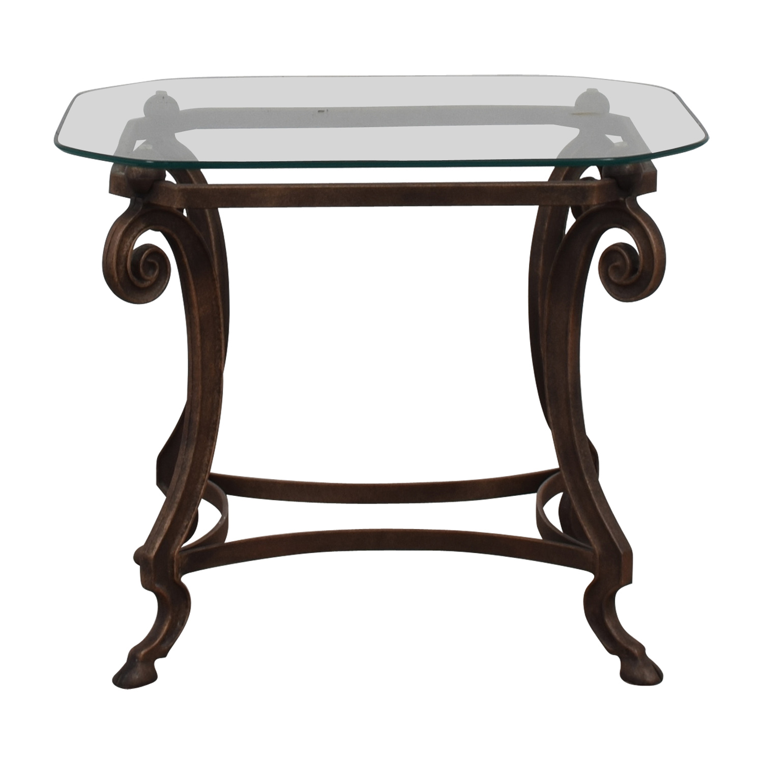 Square Glass and Iron End Table