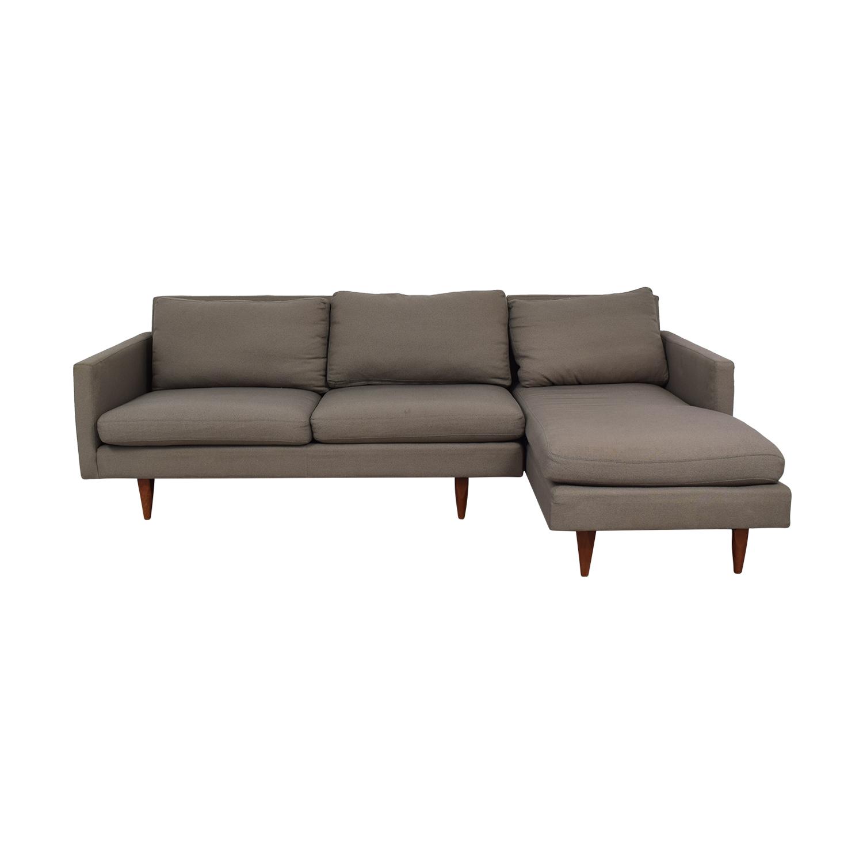 buy Room & Board Jasper Grey Chaise Sectional Room & Board