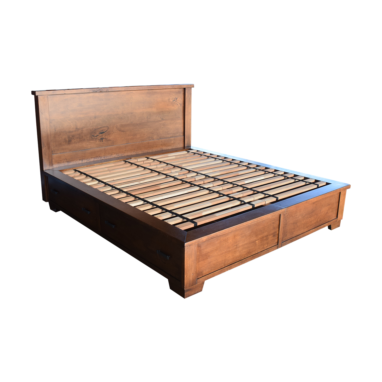 Pottery Barn Sumatra Wood King Platform Bed with Storage / Bed Frames