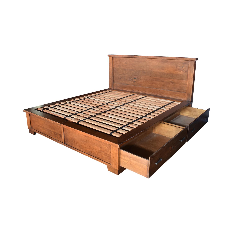 Pottery Barn Sumatra Wood King Platform Bed with Storage Pottery Barn
