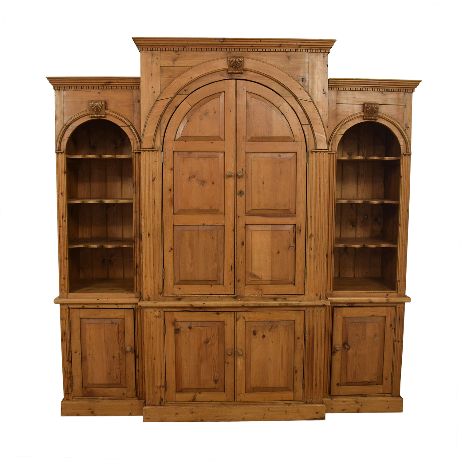 British Antique Media Center with Side Bookshelves sale