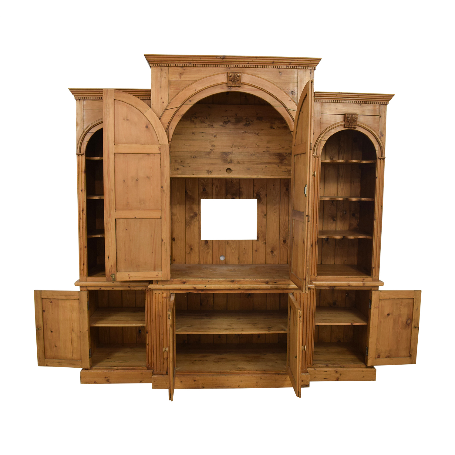 buy British Antique Media Center with Side Bookshelves  Wardrobes & Armoires