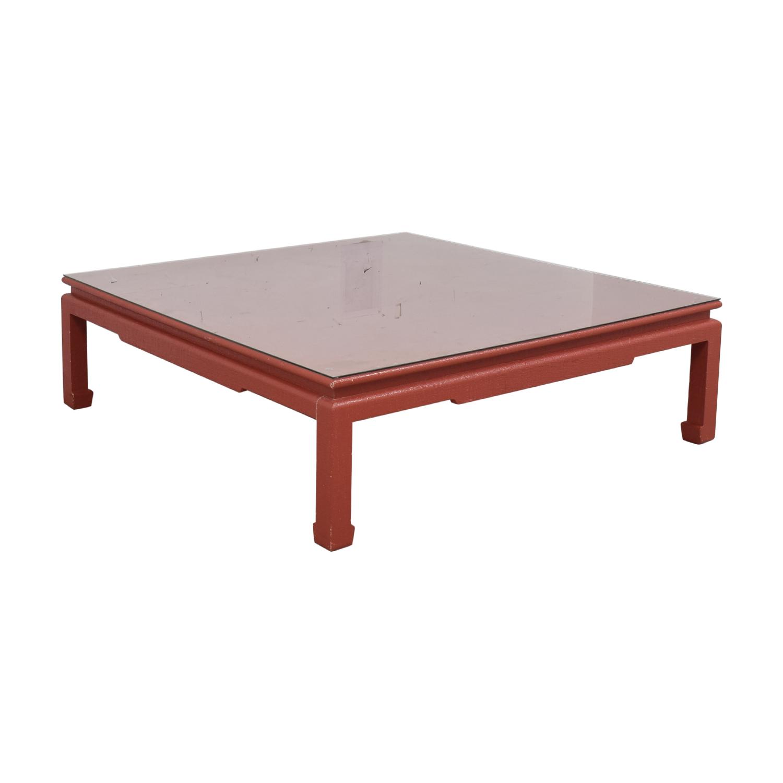 Custom Red Orange Square Coffee Table Tables
