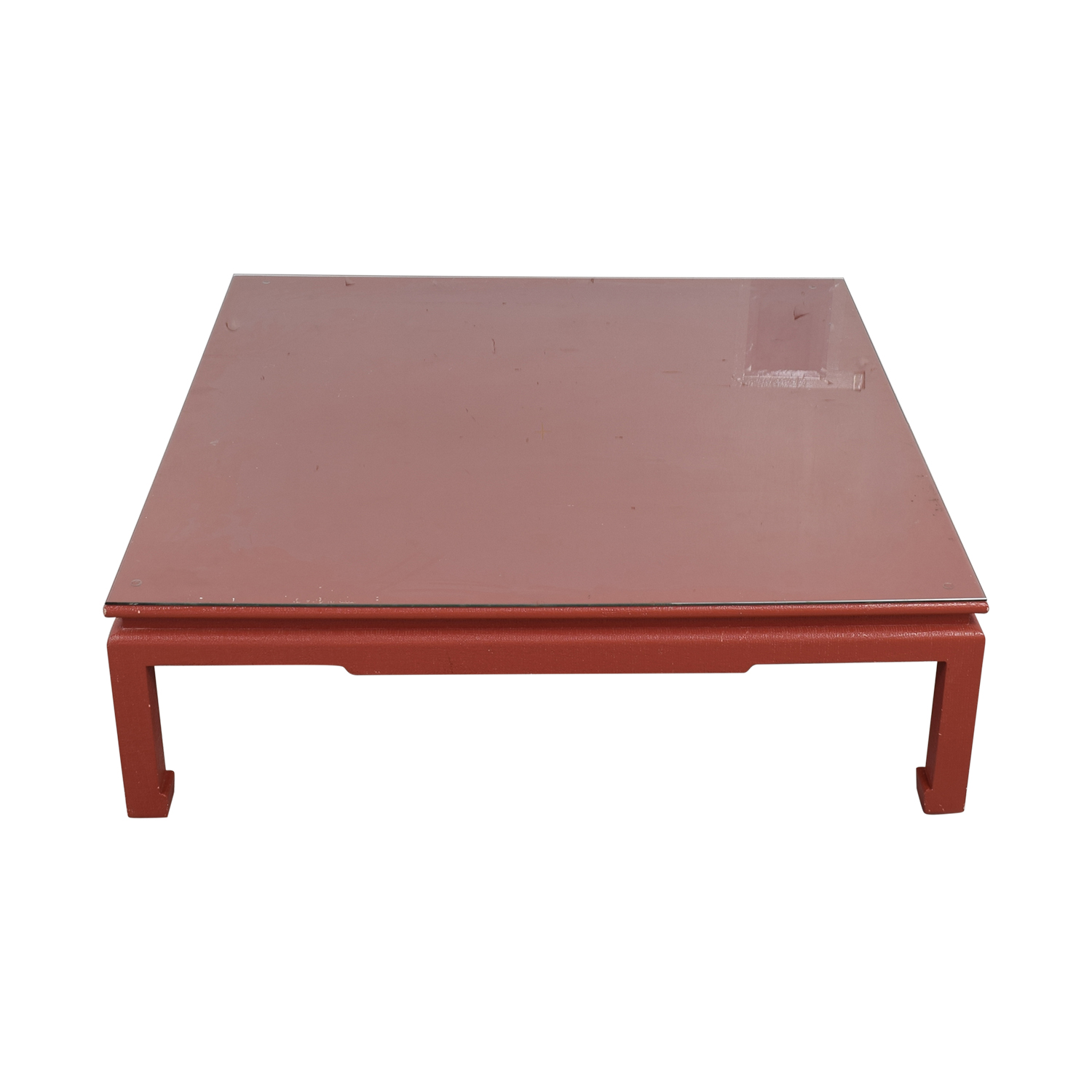 Custom Red Orange Square Coffee Table on sale