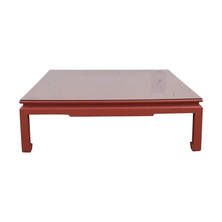 Custom Red Orange Square Coffee Table sale