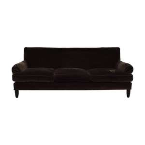 Baker Furniture Brown Three-Cushion Couch Baker Furniture