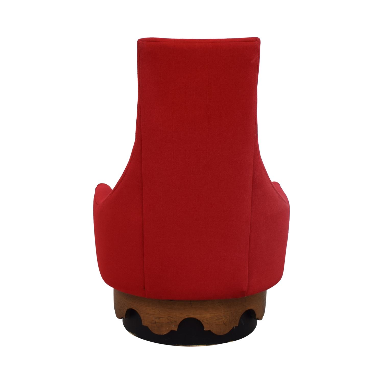 Rowe Furniture Red High Back Swivel Lounge Chair sale