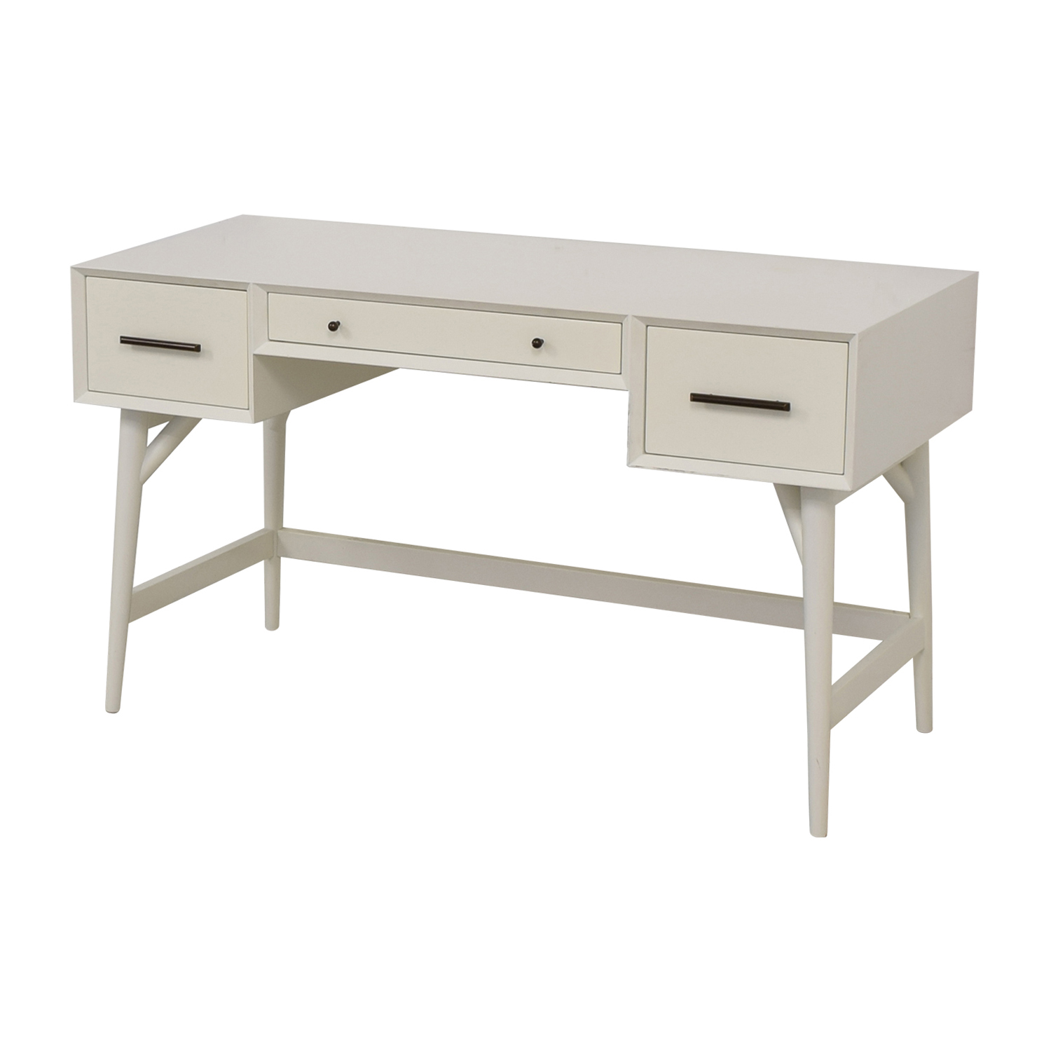 buy West Elm Three-Drawer White Desk West Elm Tables
