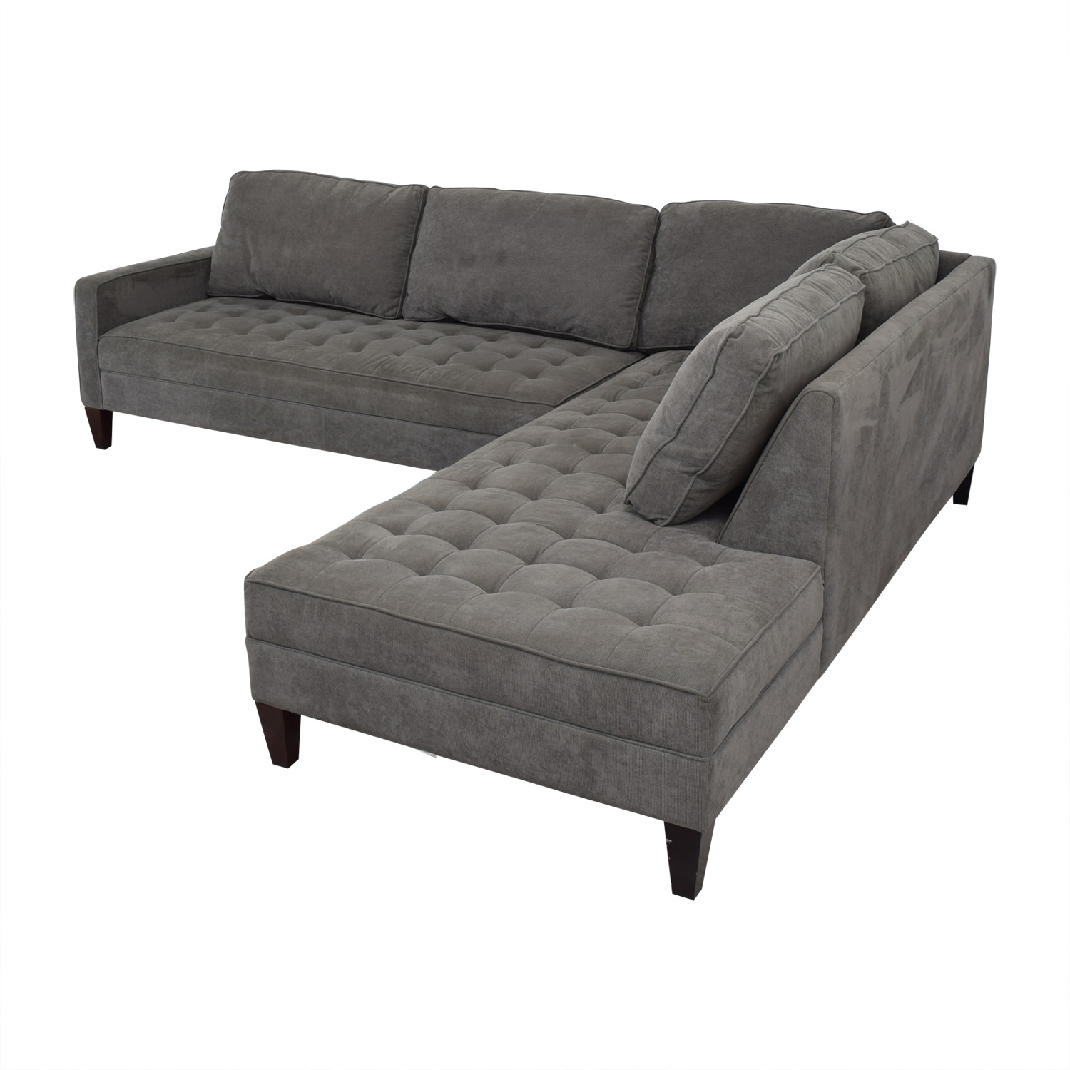 shop Z Gallerie Vapor Grey Tufted L-Shaped Sectional Z Gallerie Sofas