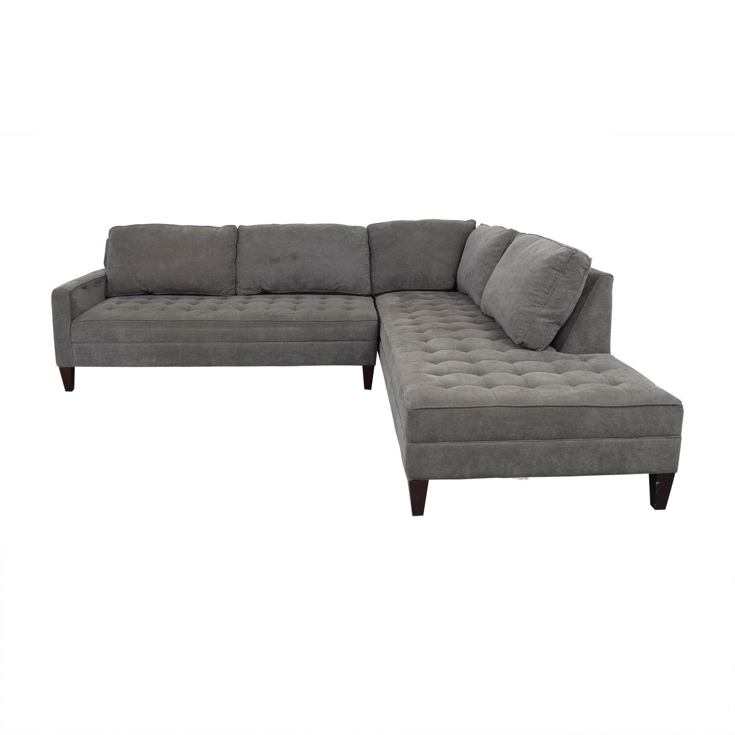 Z Gallerie Z Gallerie Vapor Grey Tufted L-Shaped Sectional price
