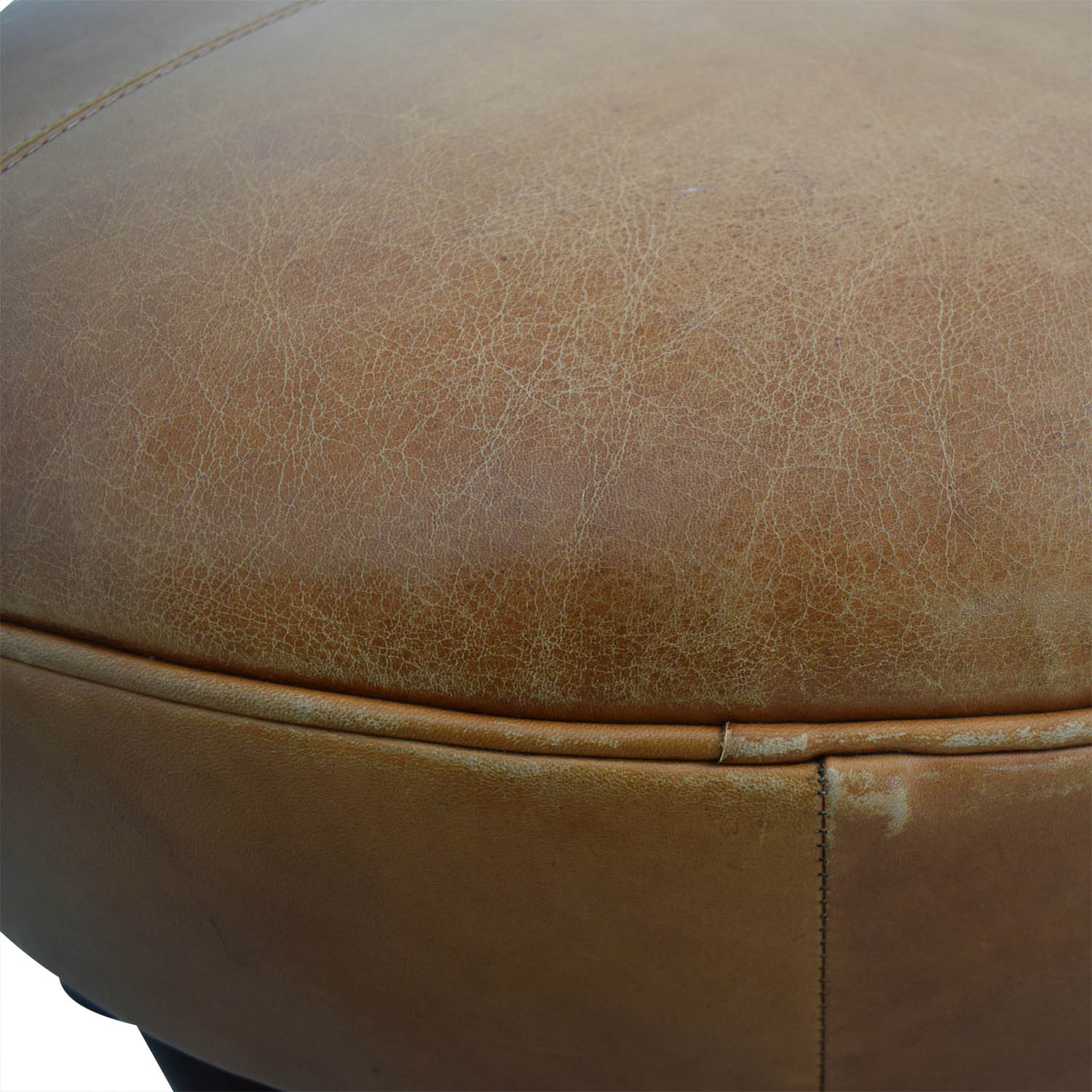 Oval Cognac Leather Ottoman for sale