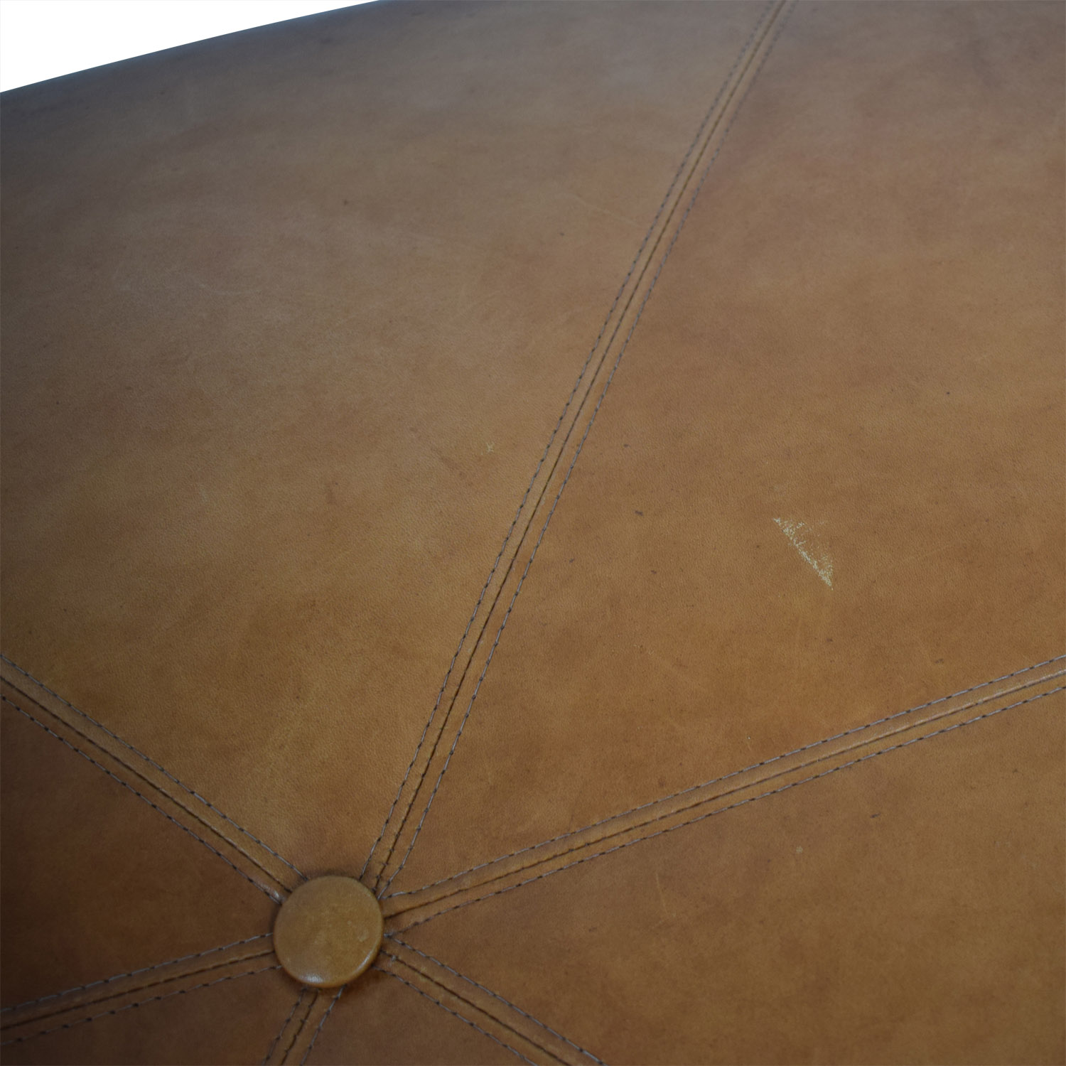 Oval Cognac Leather Ottoman light brown