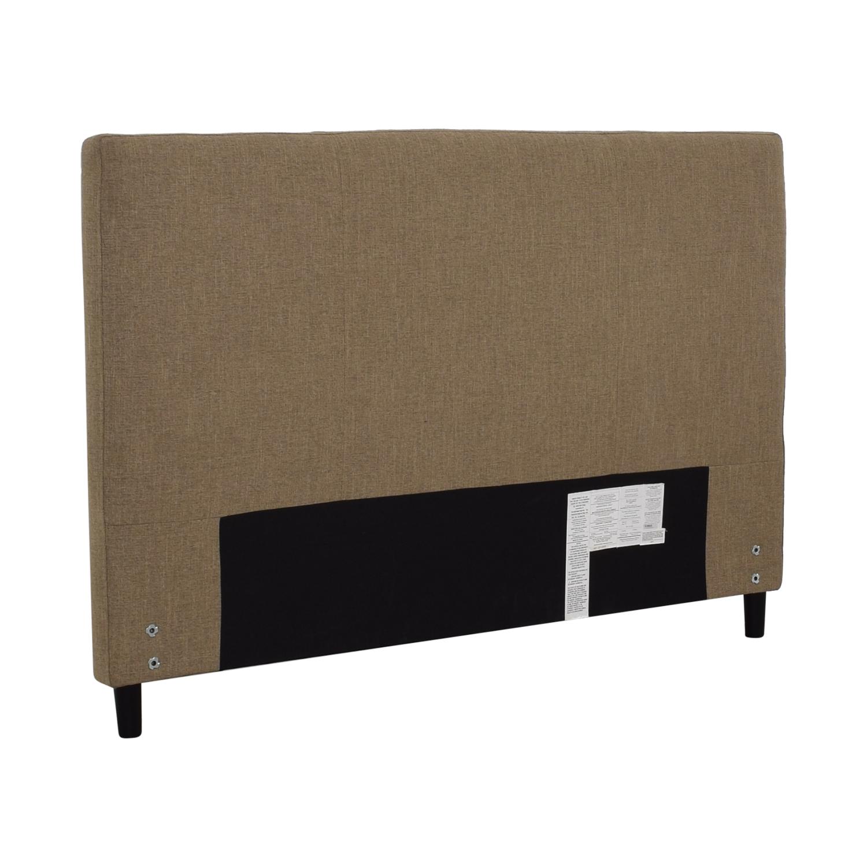 Crate & Barrel Crate & Barrel Lowe Khaki Upholstered Queen Headboard on sale