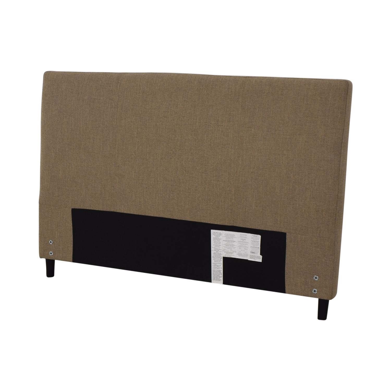 Crate & Barrel Crate & Barrel Lowe Khaki Upholstered Queen Headboard for sale