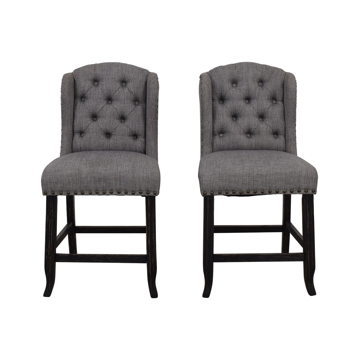 shop Furniture of America Grey Tufted Counter Stools Furniture of America Chairs