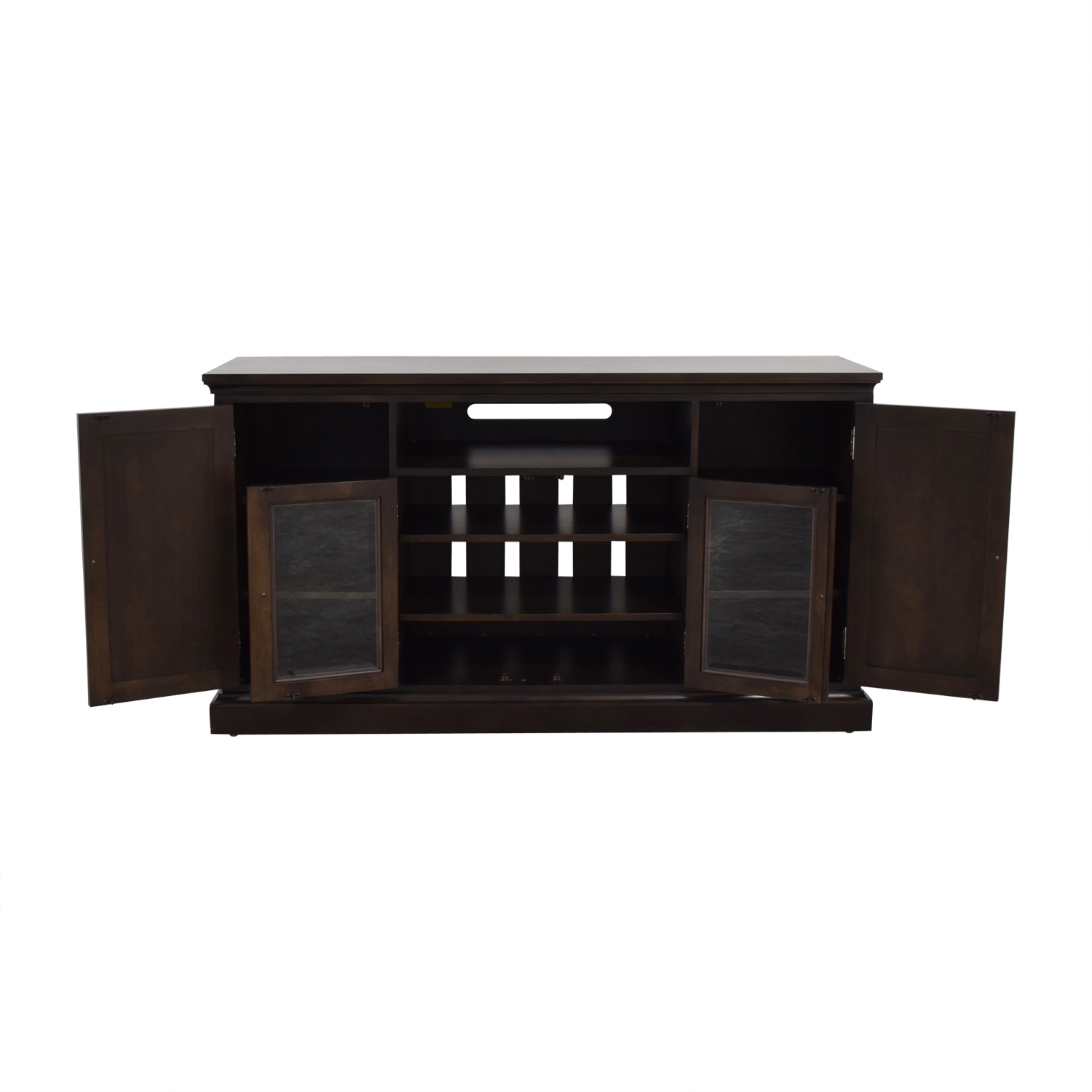 Ethan Allen Ethan Allen Wood and Glass Media Cabinet brown