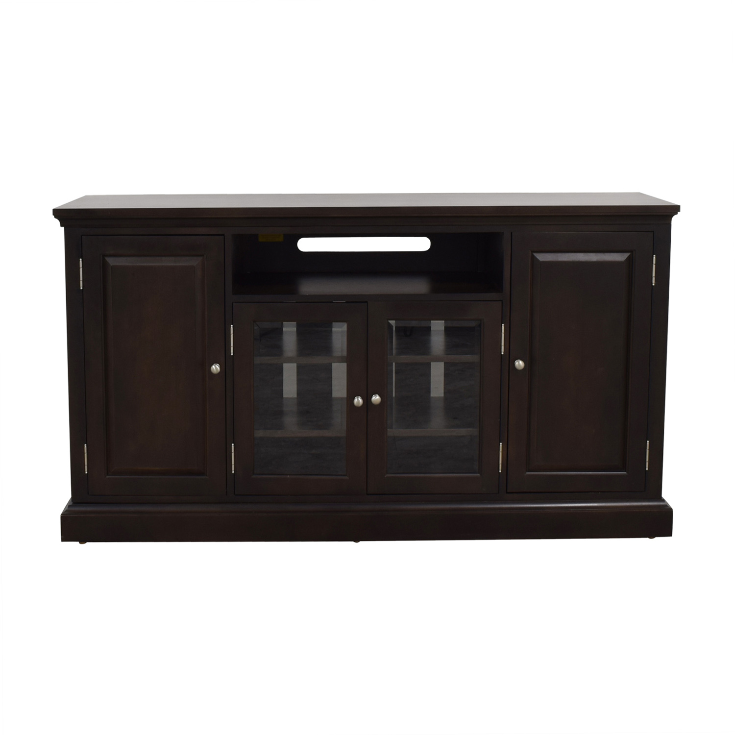 shop Ethan Allen Wood and Glass Media Cabinet Ethan Allen Media Units