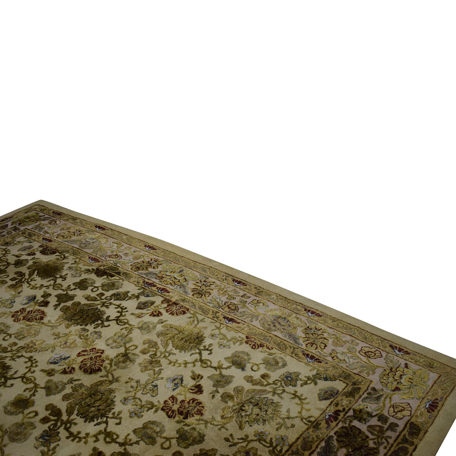 Ethan Allen Gold and Green Leaf Oriental Rug / Decor