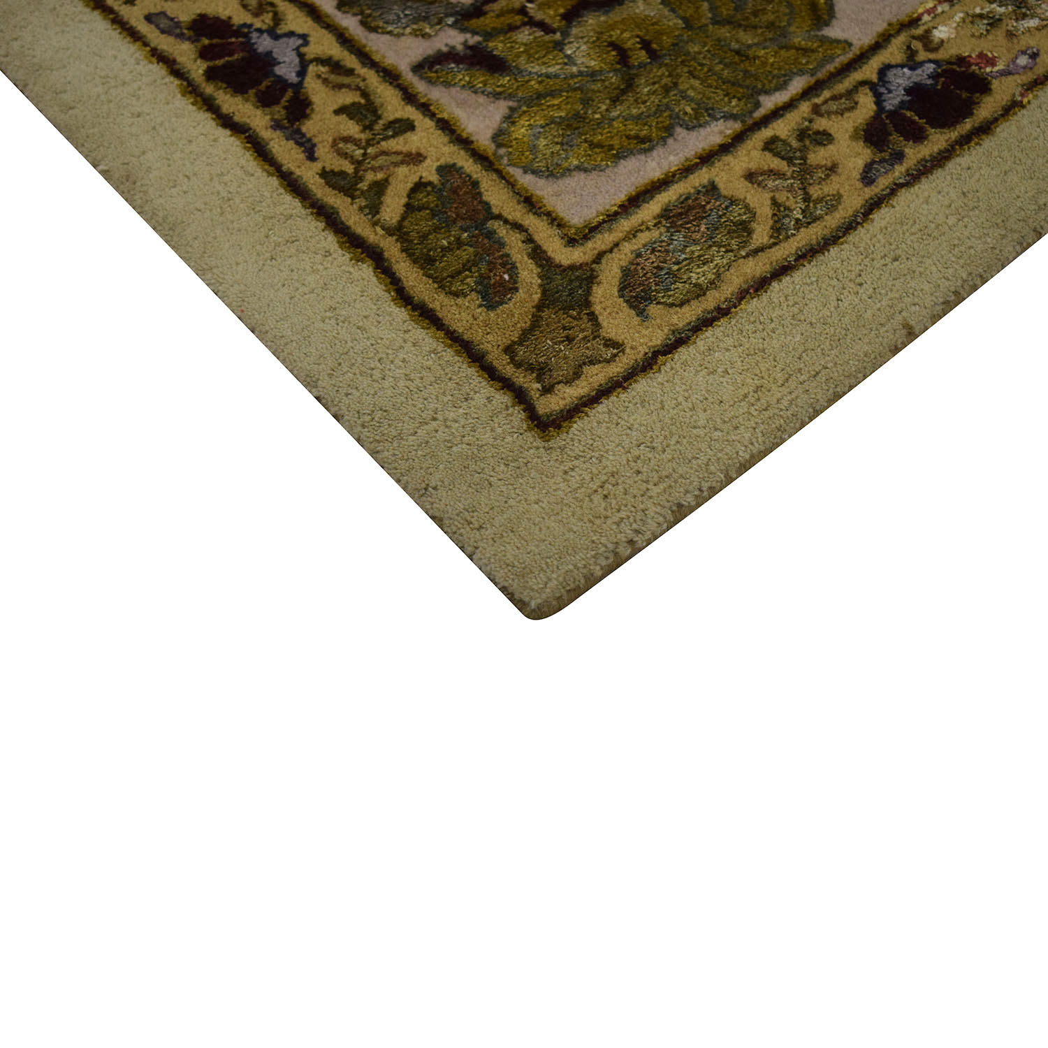 shop Ethan Allen Gold and Green Leaf Oriental Rug Ethan Allen