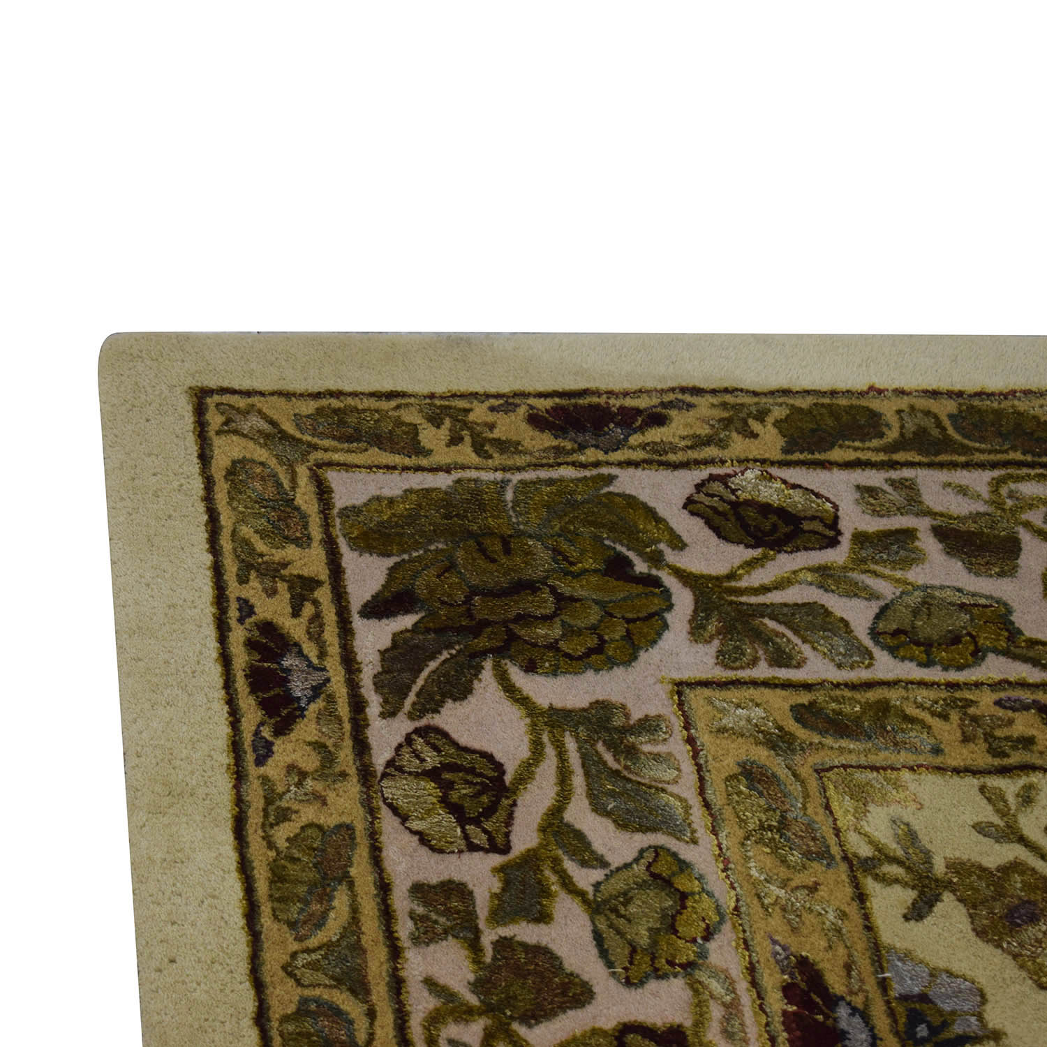 Ethan Allen Ethan Allen Gold and Green Leaf Oriental Rug discount