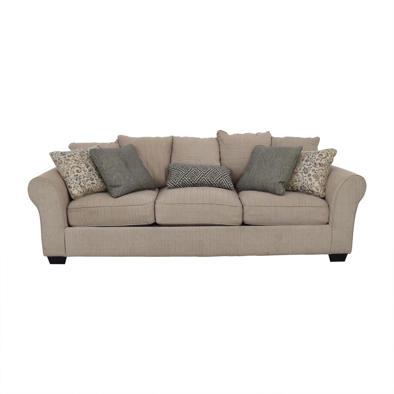 Ashley Furniture Ashley Furniture Beige Three-Cushion Sofa dimensions
