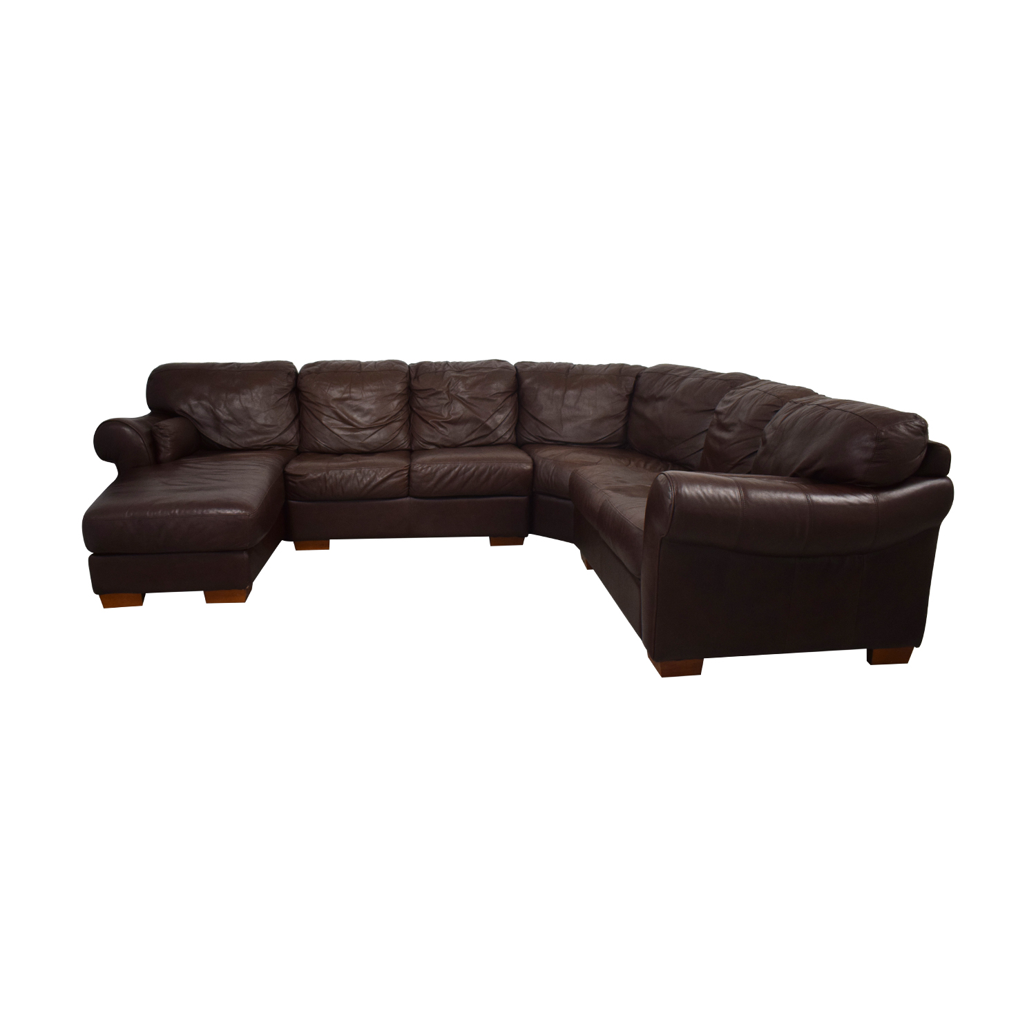 Chateau D'Ax Chateau D'Ax Divani Brown Leather L Sectional Couch with Chaise Sofas