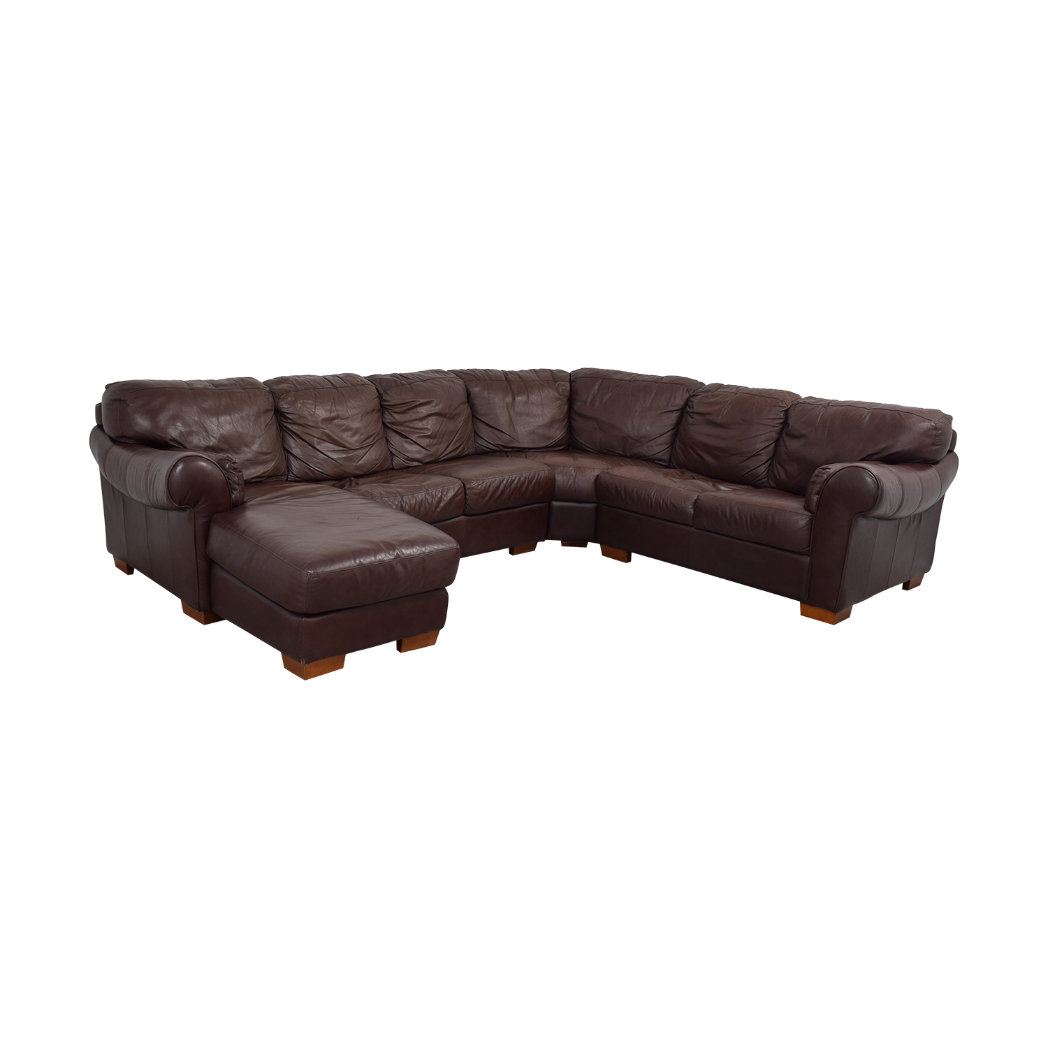 Chateau D'Ax Divani Brown Leather L Sectional Couch with Chaise sale