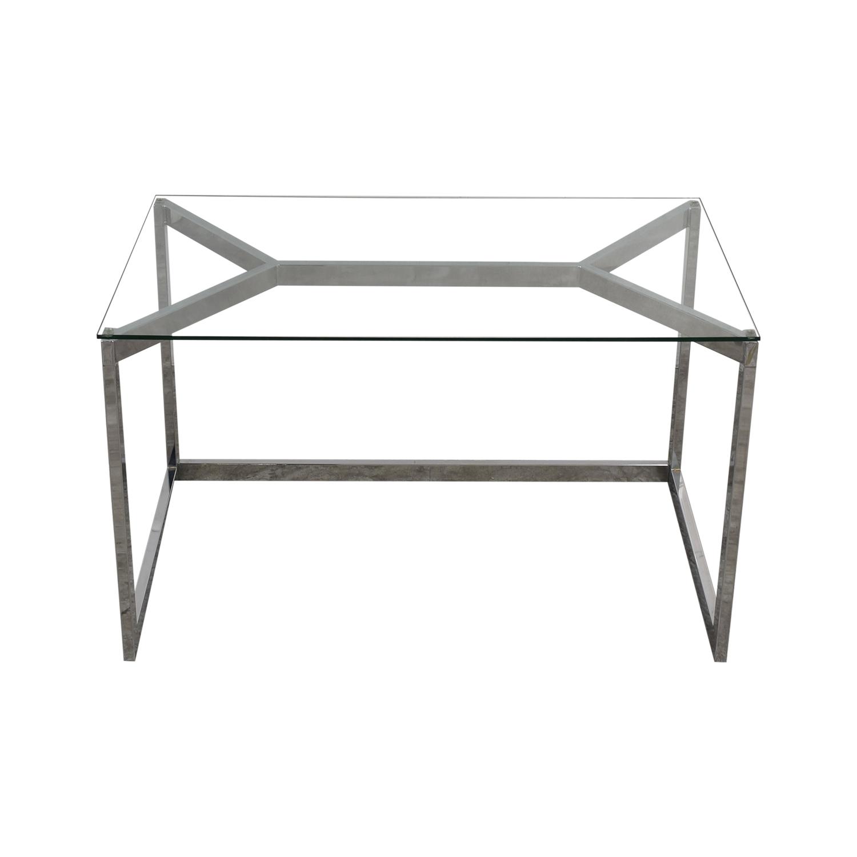 buy CB2 Glass and Chrome Desk CB2 Home Office Desks