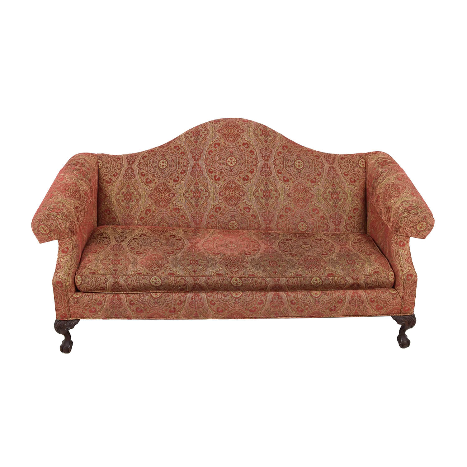 Ethan Allen Ethan Allen Paisley Camelback Sofa RUST (WITH RAISED PATTERNS)