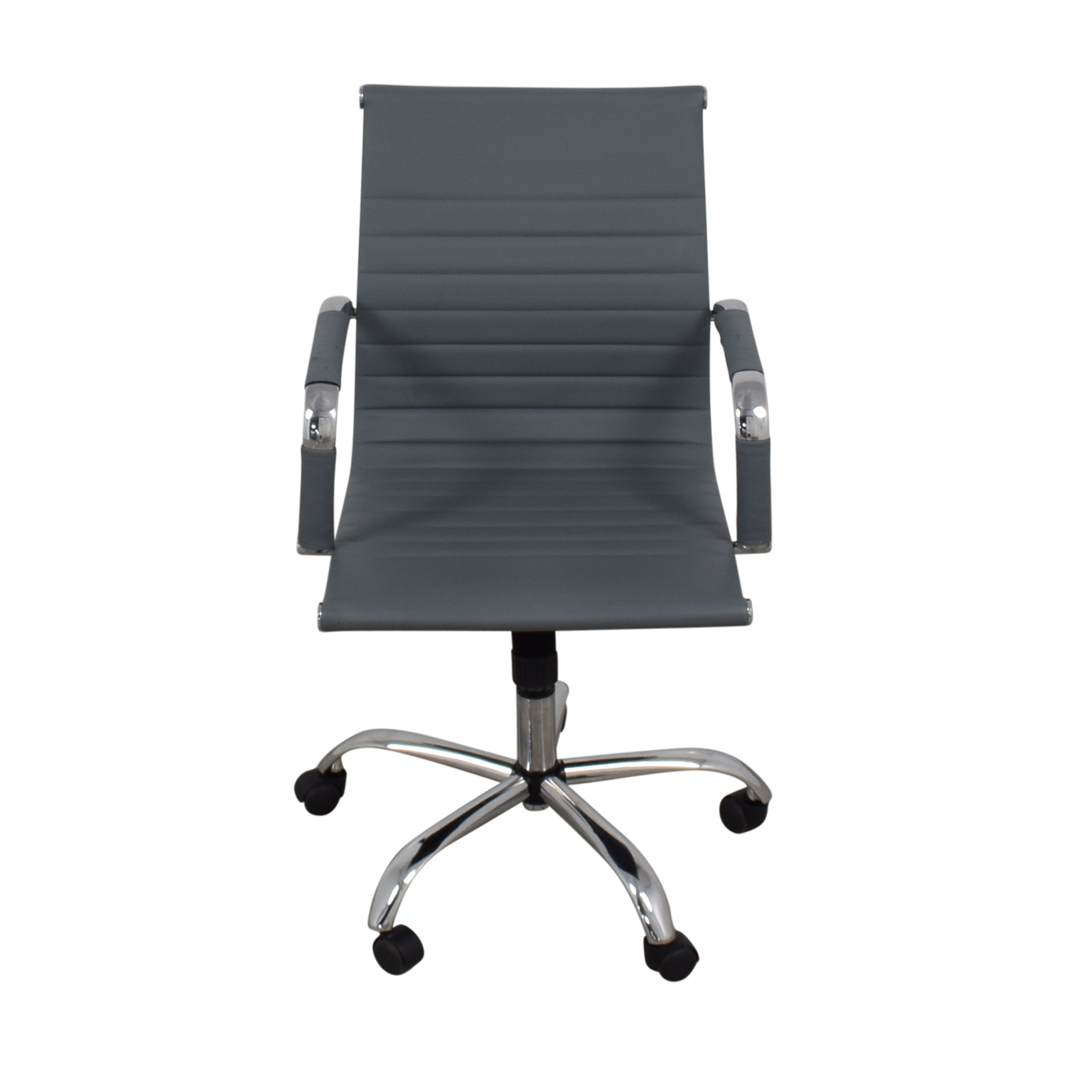 Grey Ribbed Faux Leather Office Chairs used
