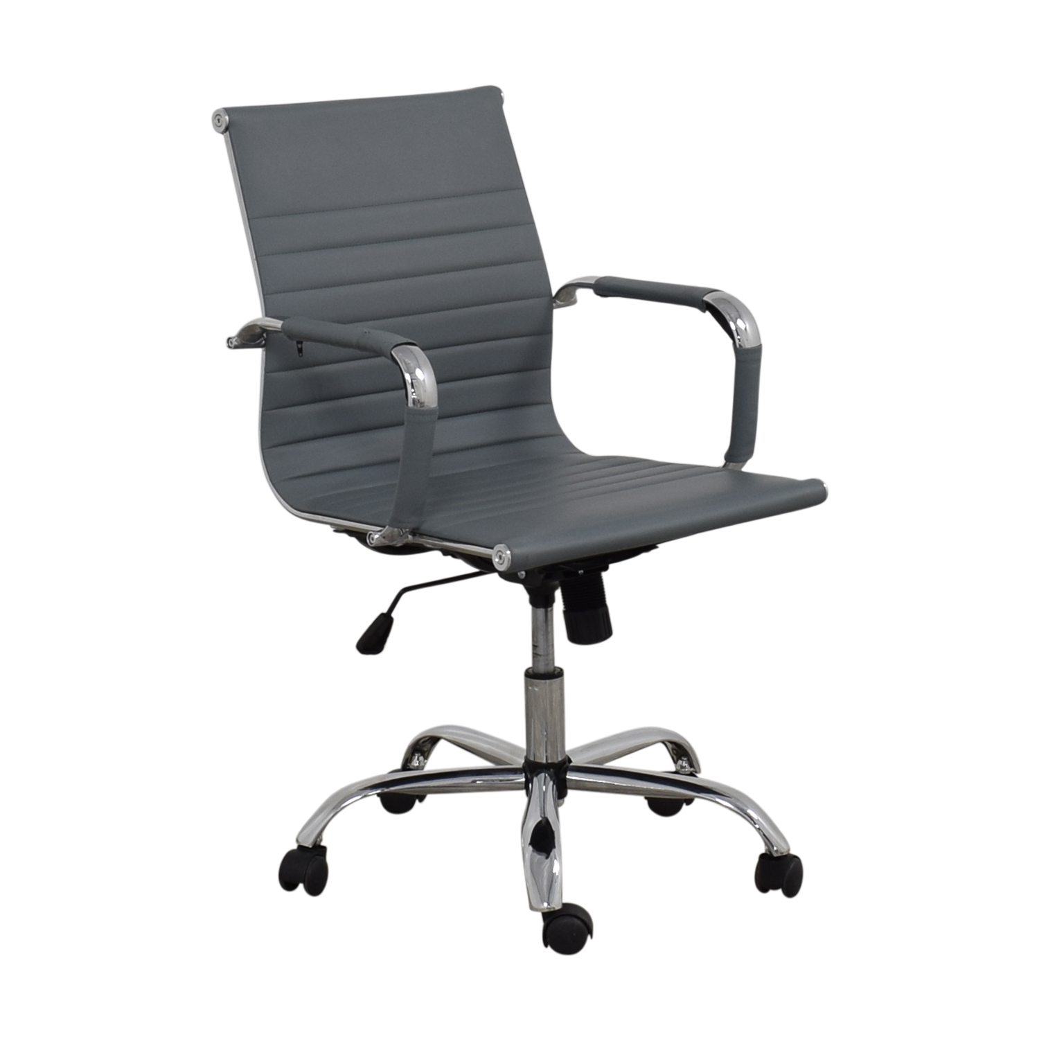 Grey Ribbed Faux Leather Office Chairs / Home Office Chairs