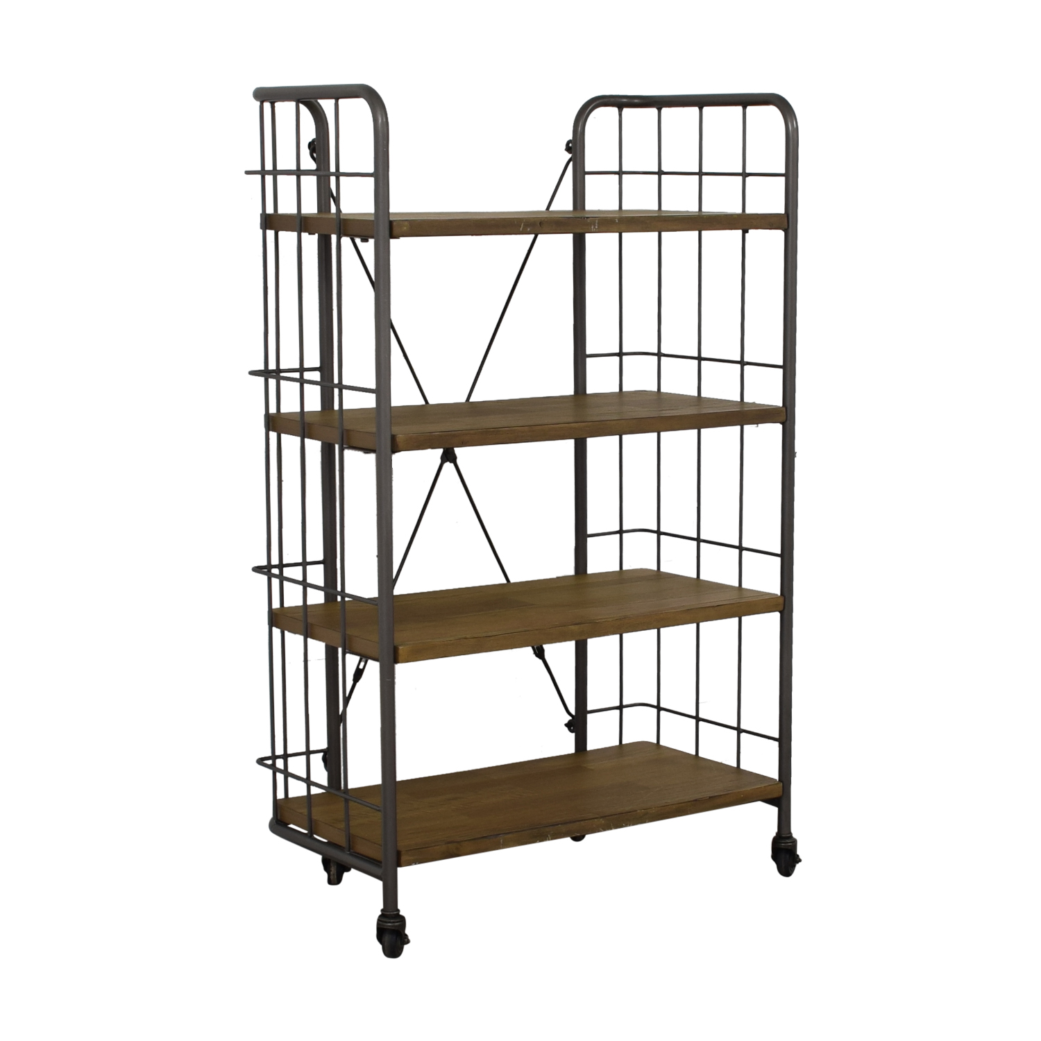 World Market World Market Industrial Four-Tier Shelves with Casters for sale