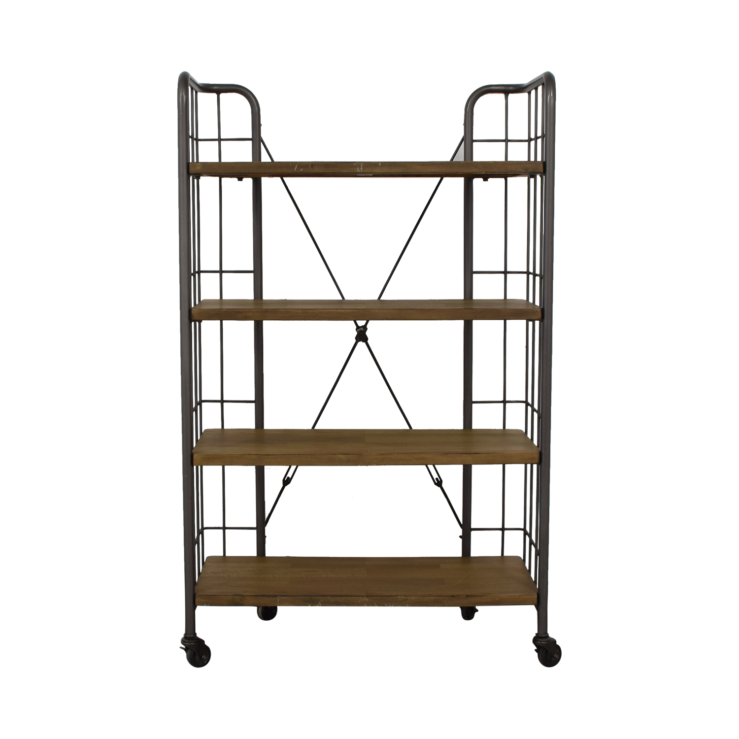 World Market World Market Industrial Four-Tier Shelves with Casters Utility Tables