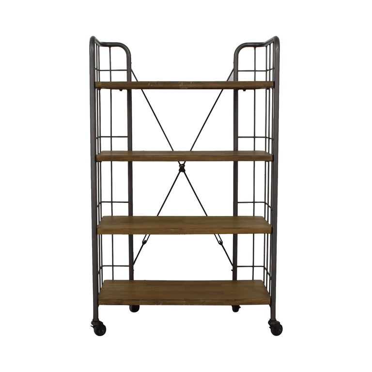 buy World Market Industrial Four-Tier Shelves with Casters World Market Tables