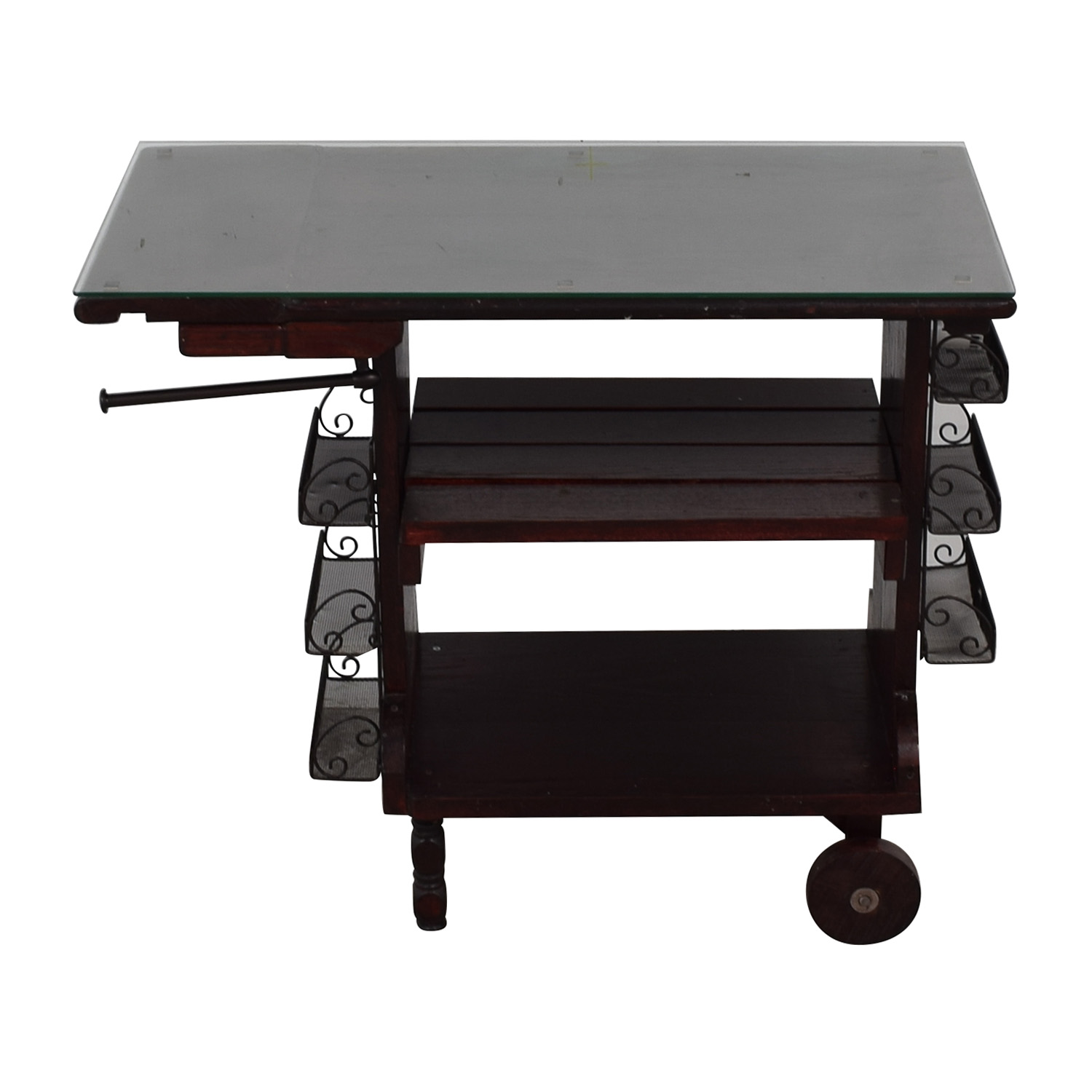 buy  Custom Oak Kitchen Island with Tempered Glass on Casters online