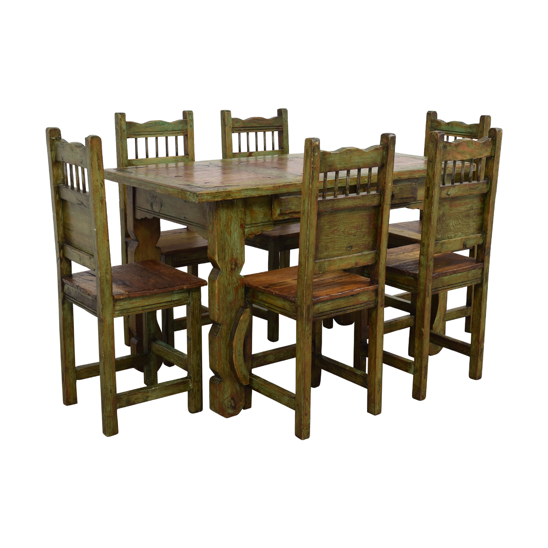 shop El Barzon Southwest Rustic Recycled Wood Dining Set El Barzon Dining Sets