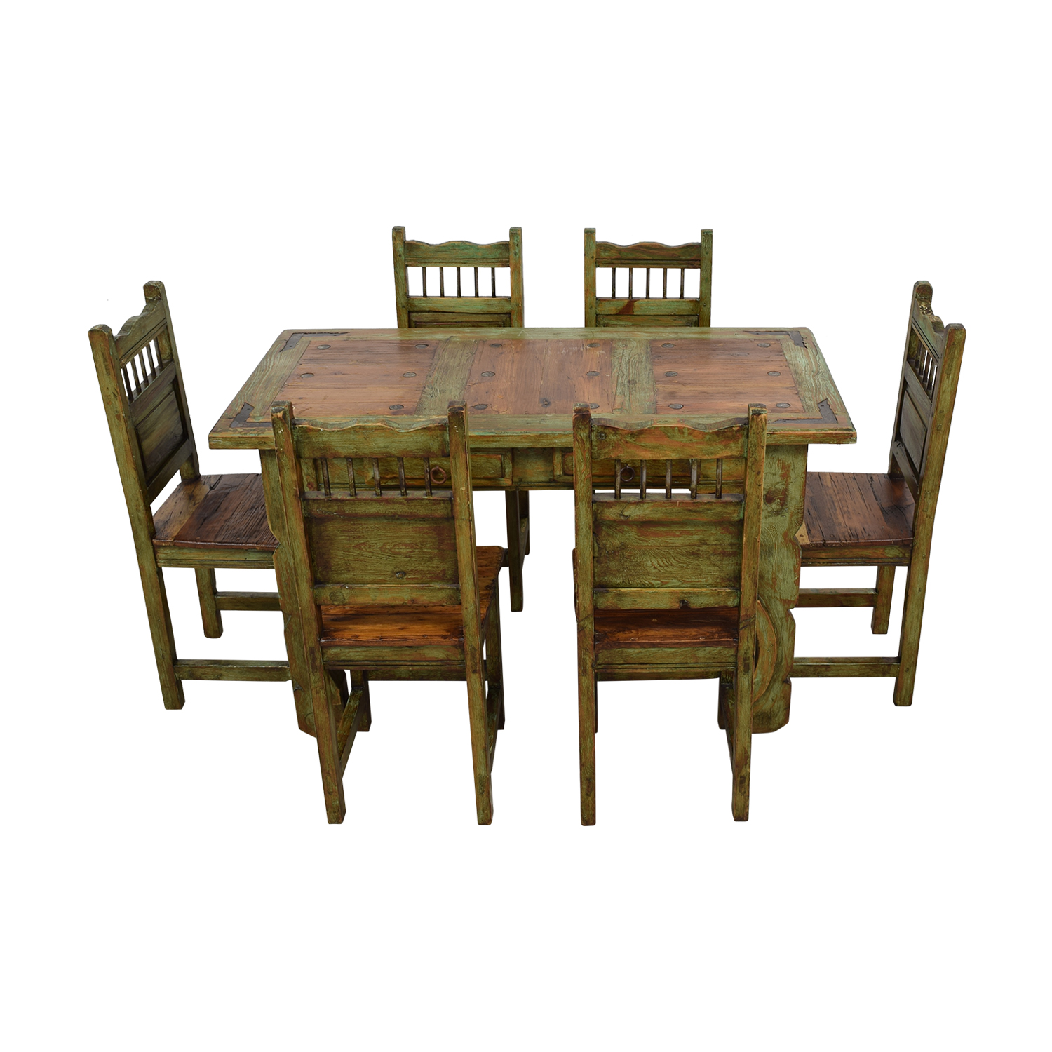 El Barzon El Barzon Southwest Rustic Recycled Wood Dining Set used