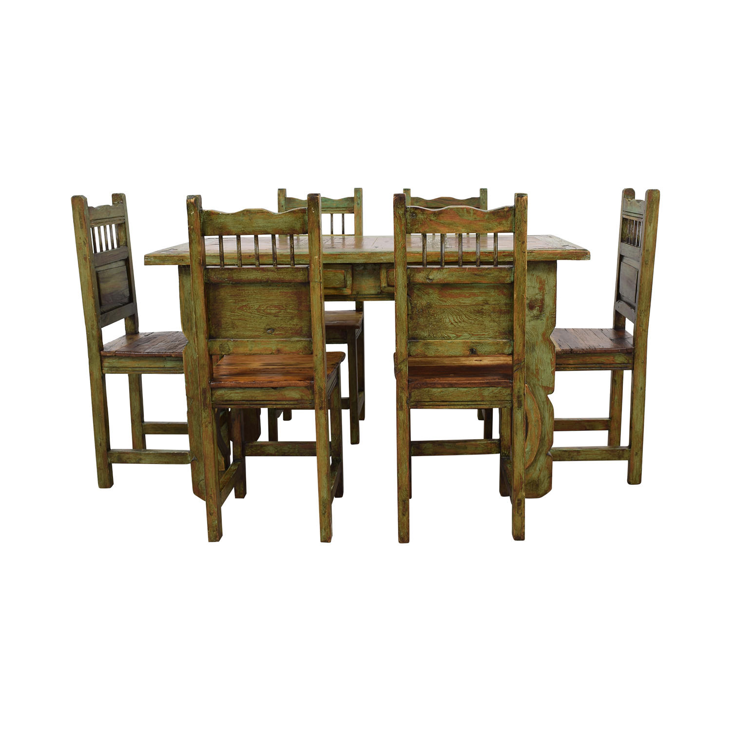 El Barzon El Barzon Southwest Rustic Recycled Wood Dining Set nj