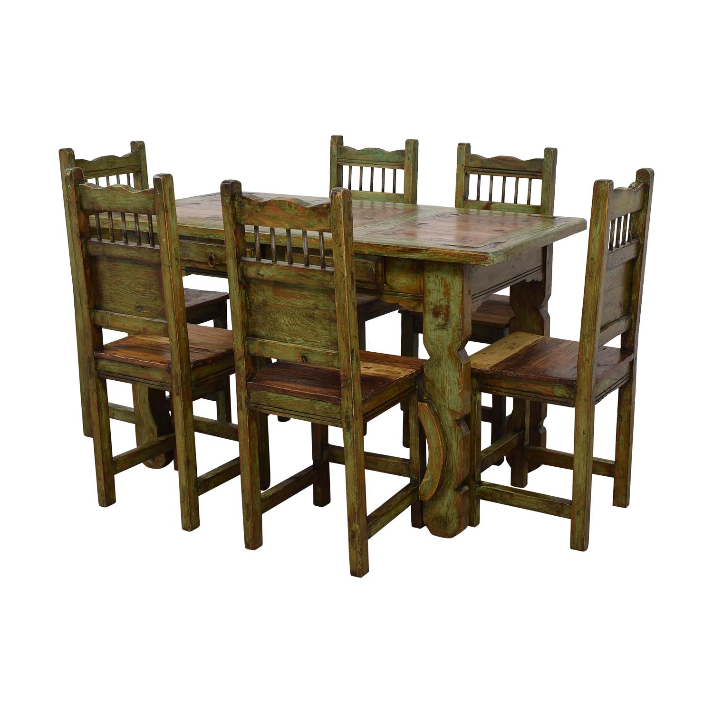 El Barzon El Barzon Southwest Rustic Recycled Wood Dining Set nj