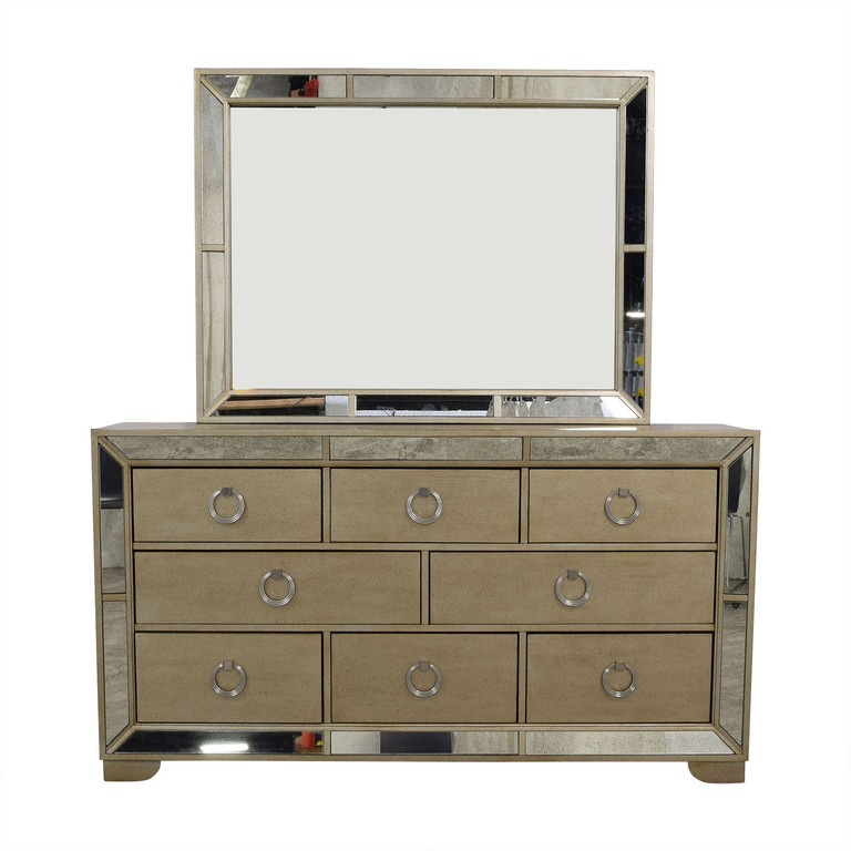 Macy's Macy's Ailey Eight-Drawer Dresser with Mirror and Trim for sale