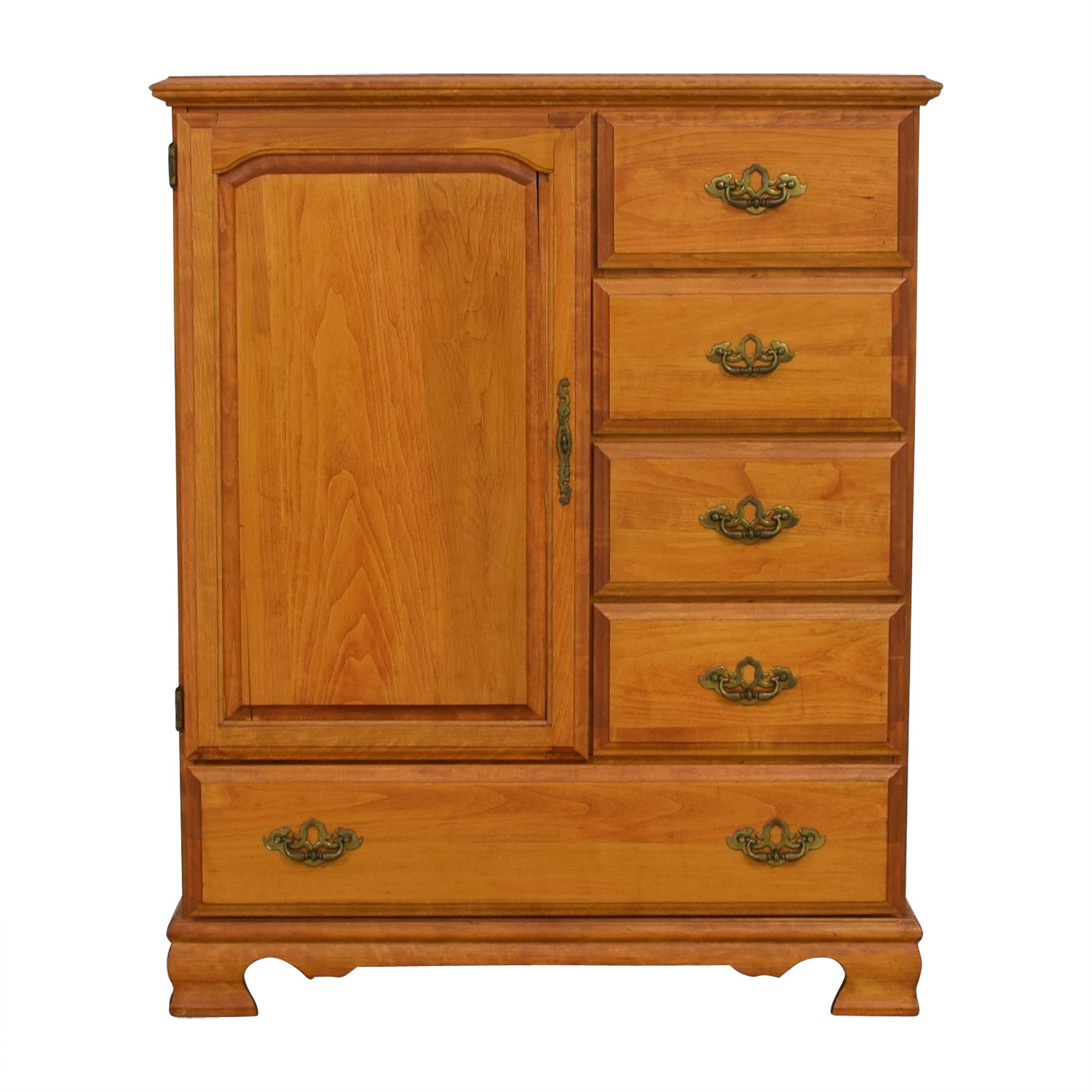 Five-Drawer Wood Dresser Armoire for sale