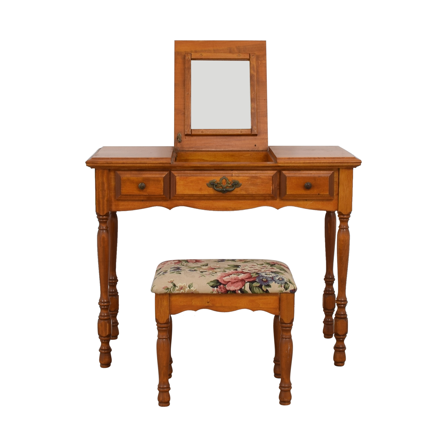 Wood Three-Drawer Desk or Vanity with Mirror and Floral Bench coupon