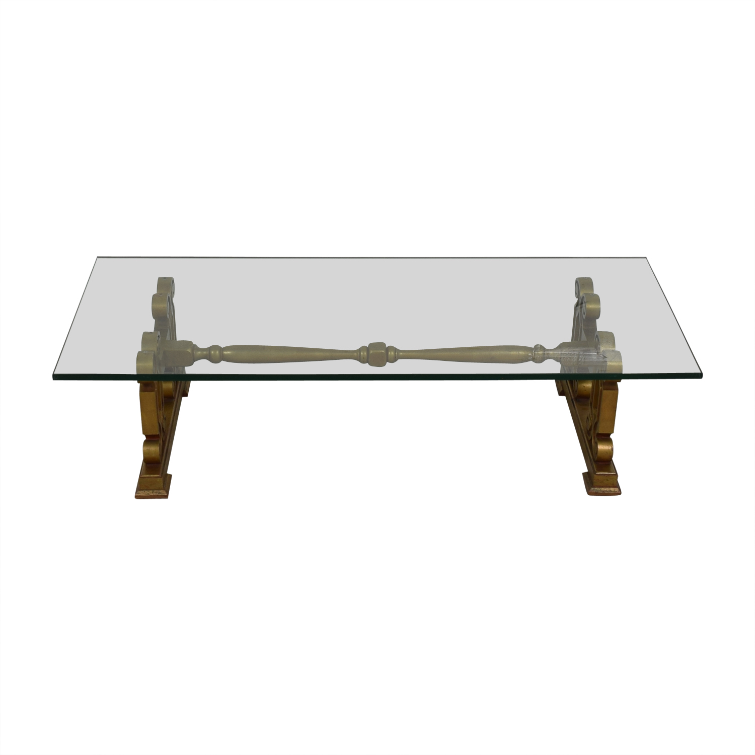 Glass Top with Gold Scrolled Base Coffee Table discount