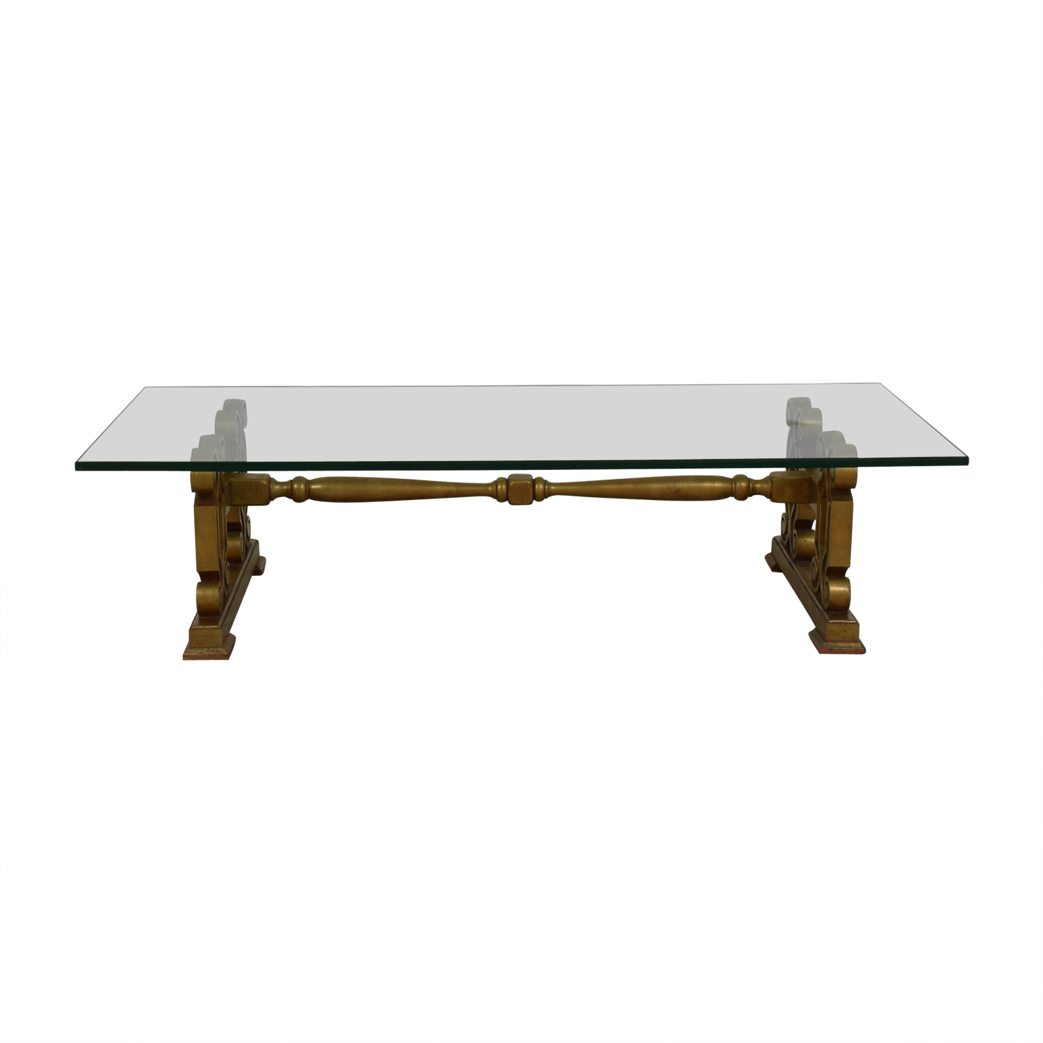 Glass Top with Gold Scrolled Base Coffee Table / Sofas