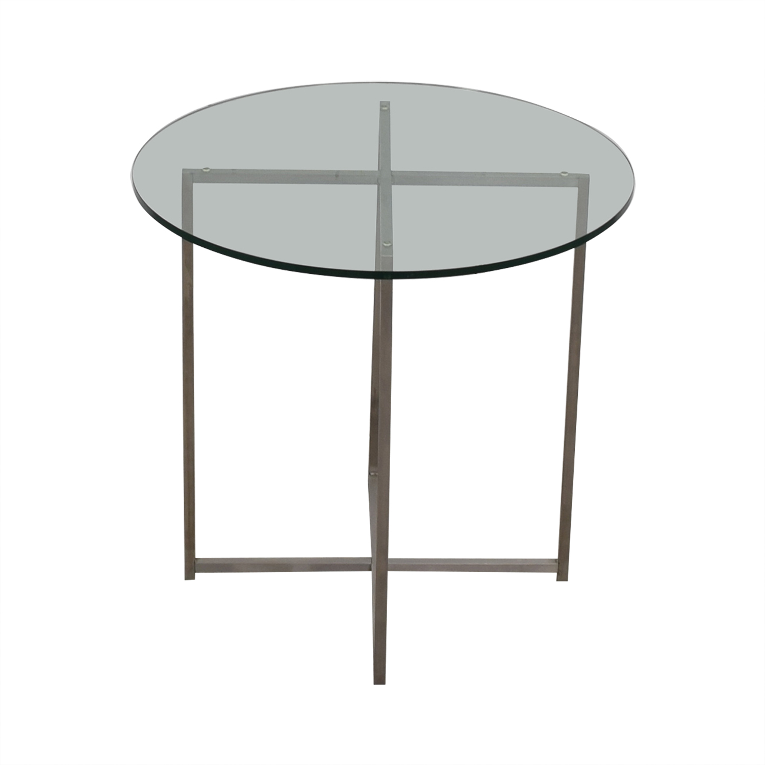 Room & Board Room & Board Stainless Steel and Glass Classic End Table used