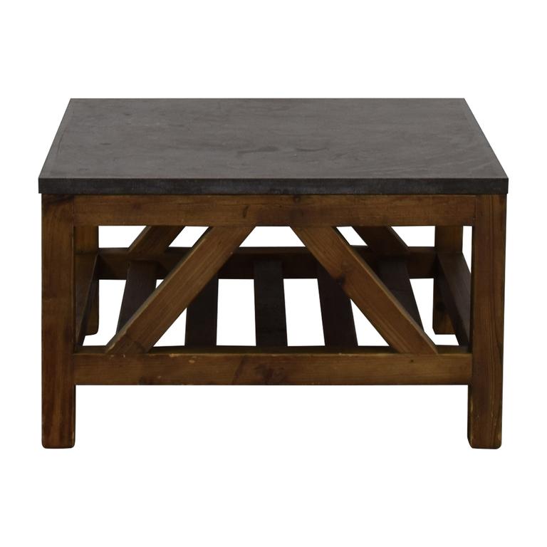 Crate & Barrel Crate & Barrel Bluestone Square Coffee Table discount