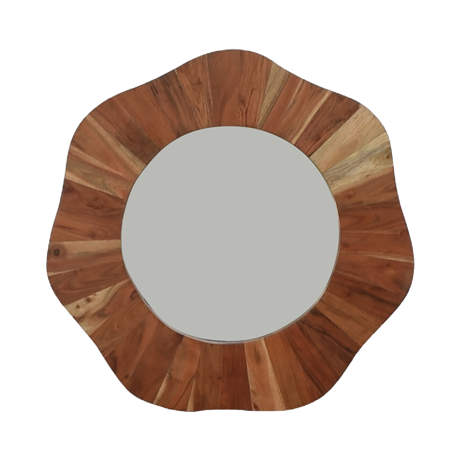 Rustic Round Wood Wall Mirror