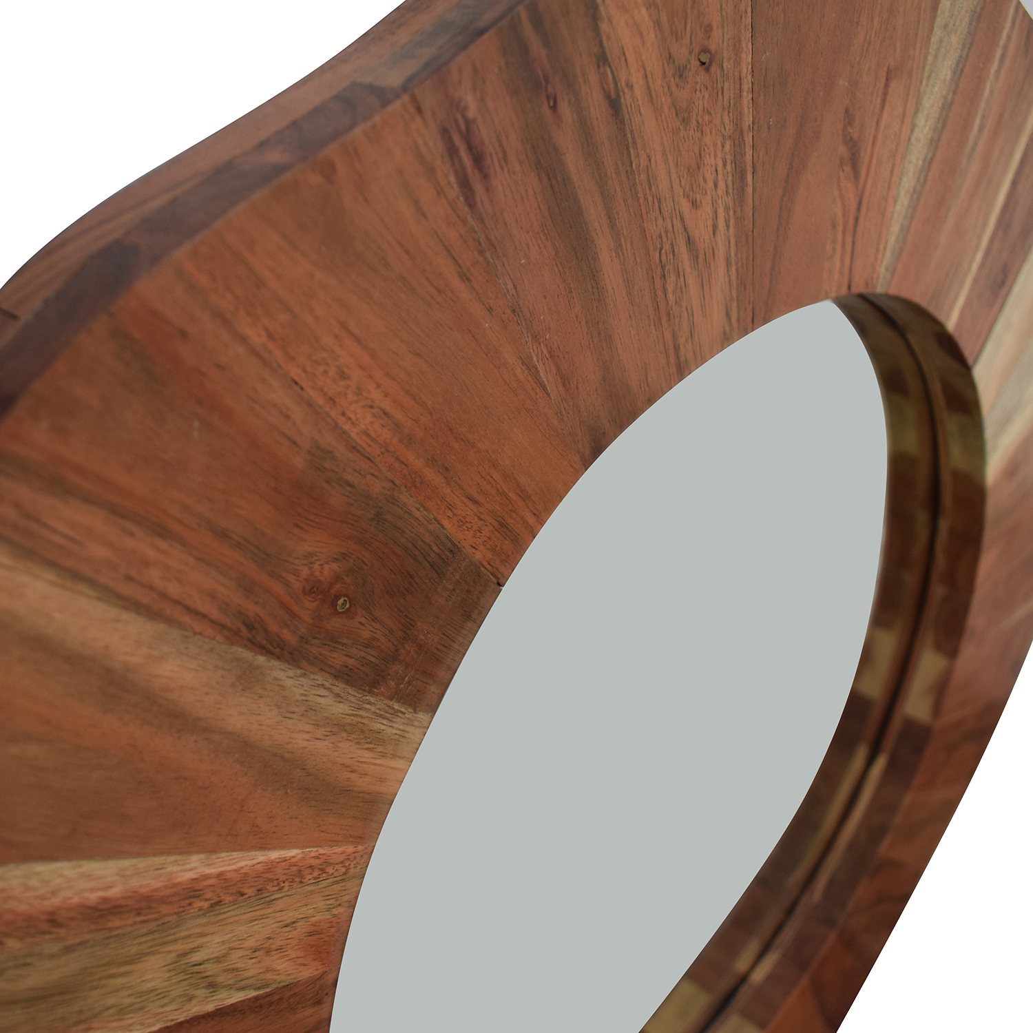 buy  Rustic Round Wood Wall Mirror online