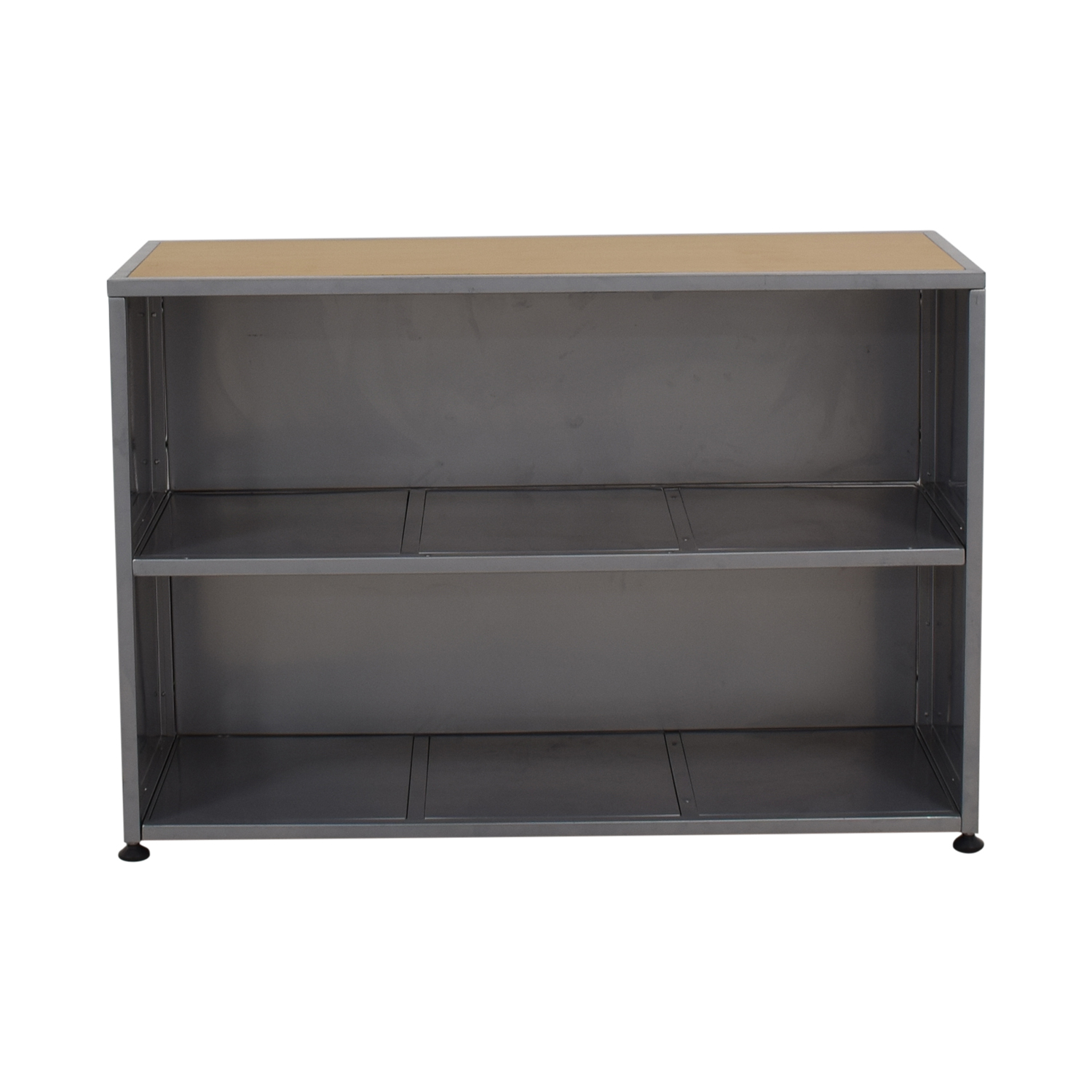 Industrial Grey Metal and Wood Bookshelf / Bookcases & Shelving