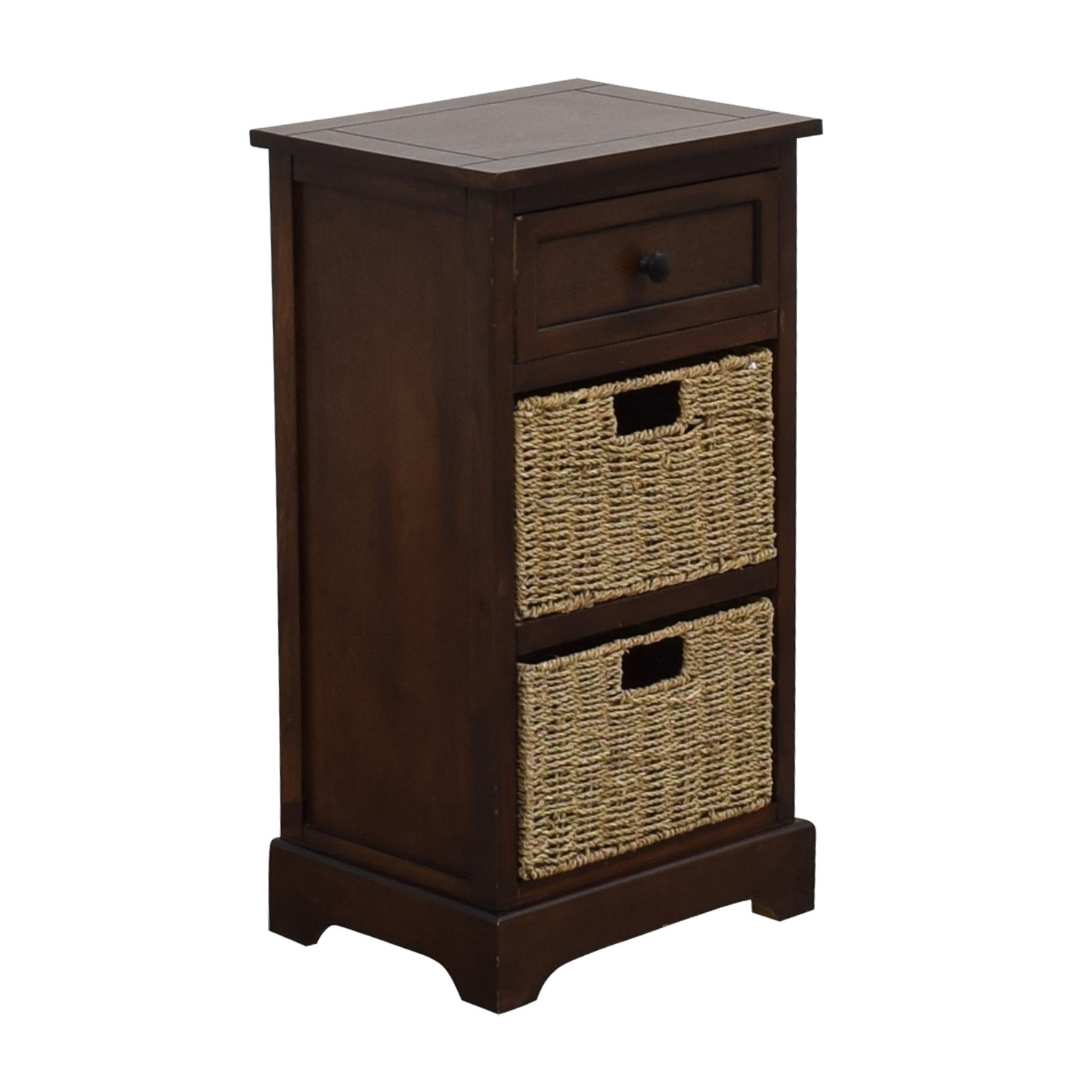 90 Off Wood Side Table With Two Wicker Baskets Tables